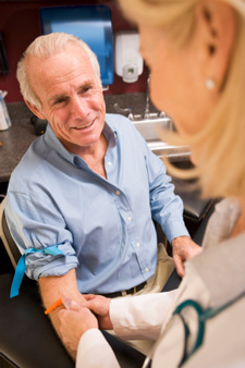 Man taking blood test
